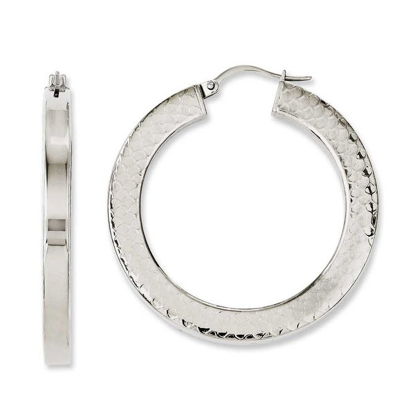 Chisel Stainless Steel Polished & Textured 30mm Hollow Hoop Earrings