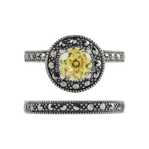 MARC Sterling Silver Canary CZ & Marcasite Halo 2-piece Ring