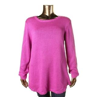 Aqua Womens Plus Alandra Knit Long Sleeves Pullover Sweater