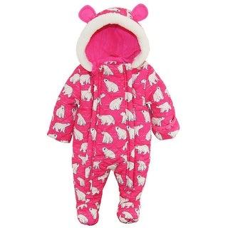 Wippette Newborn Girls Polar Bear Microfiber Quilted Snowsuit Snow Pram Suit