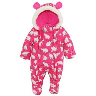 Wippette Newborn Girls Polar Bear Microfiber Quilted Snowsuit Snow Pram Suit