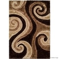 AllStar Rugs Coco Shaggy Area Rug with 3D Brown Spiral Design. Contemporary Formal Casual Hand Tufted (5' x 7') - Thumbnail 1