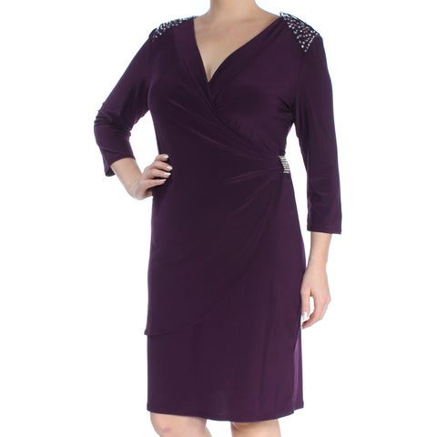 R&M RICHARDS Womens Purple Rhinestone Gathered Long Sleeve V Neck Above The Knee Sheath Dress Size: 14