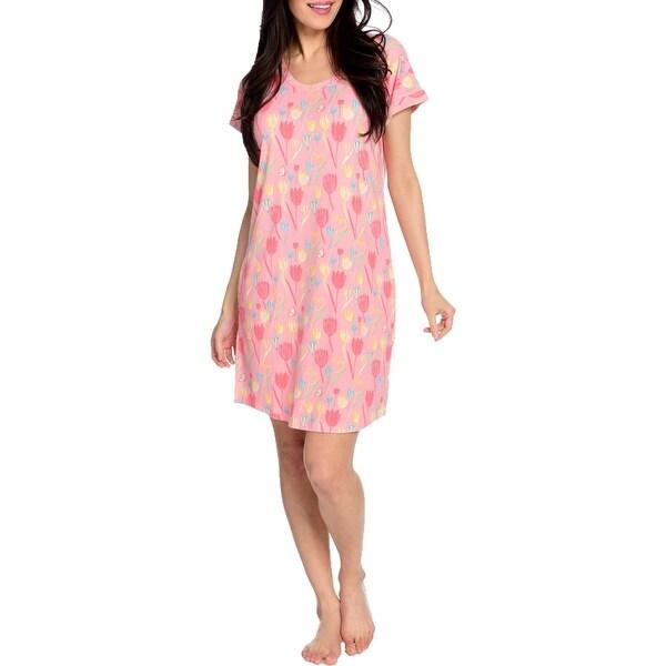 Munki Munki Women's Floral Print Short Dolman Sleeve Scoopneck Sleepwear Nightgown - Pink. Opens flyout.