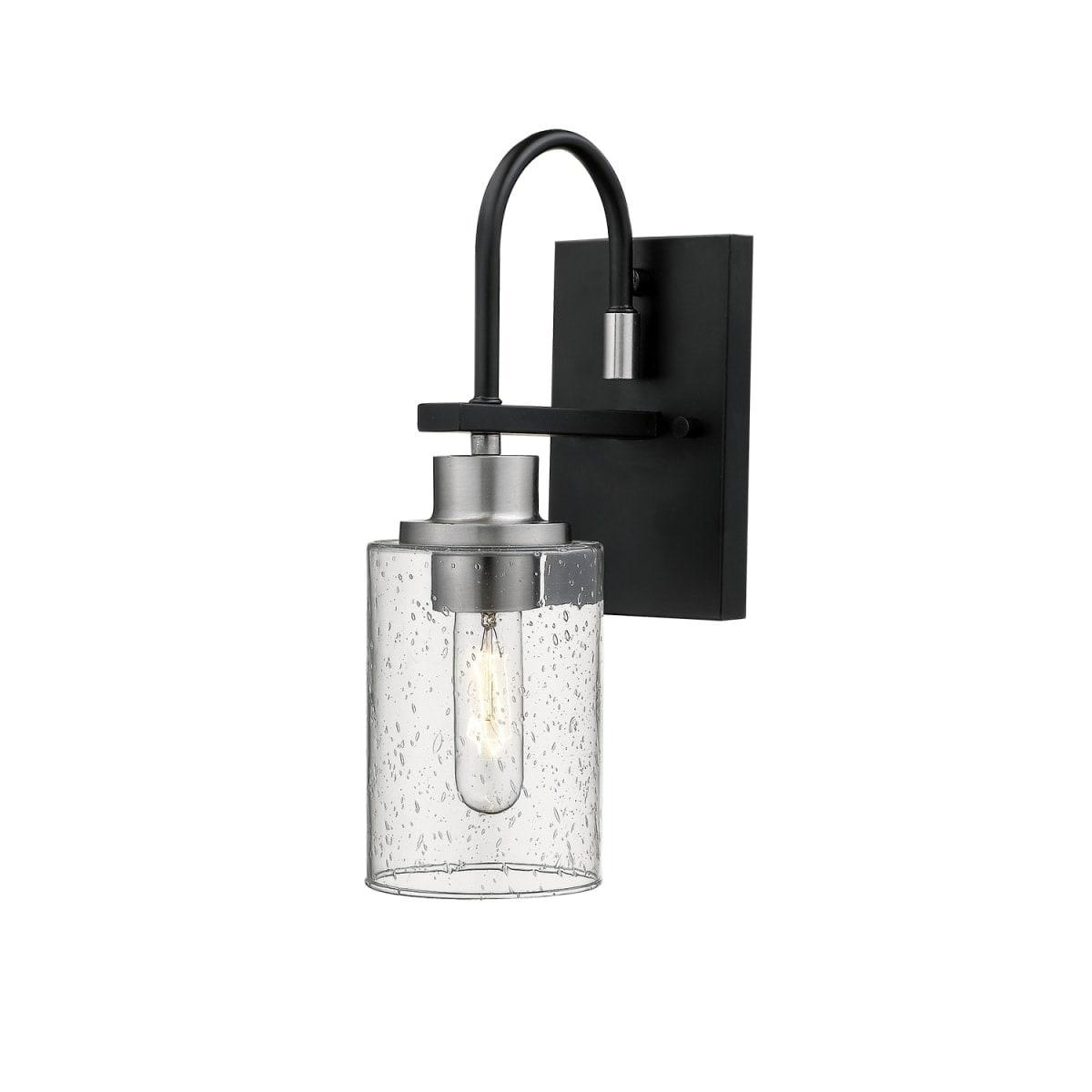 Image of: Shop Black Friday Deals On Millennium Lighting 3511 Clifton Single Light 14 Tall Bathroom Sconce Matte Black Brushed Nickel Overstock 27382967