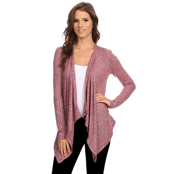 Women's Ribbed Cardigan Short Draped Open Front Made in USA HEATHER BURGUNDY (Small)