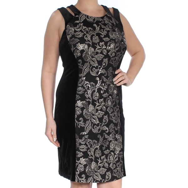 CONNECTED Womens Black Cut Out Sequined Printed Sleeveless Jewel Neck Knee Length Sheath Cocktail Dress Size: 12