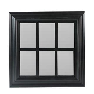 """17"""" Black Contemporary Windowpane Square Wall Mirror"""