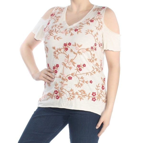 LUCKY BRAND Womens Ivory Embroidered Cold Shoulder Floral Top Plus Size: 1X