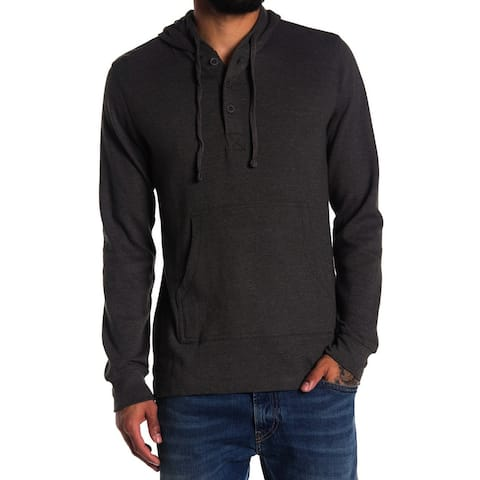Weatherproof Mens Hoodie Small Henley Waffle-Knit Pullover