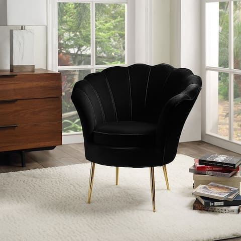 Angelina Velvet Scalloped Back Barrel Accent Chair with Metal Legs