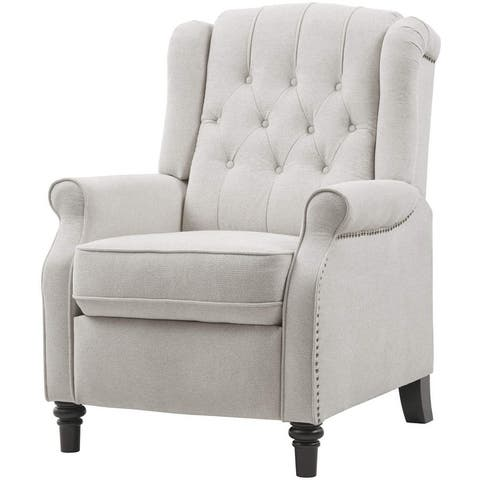 Pushback Recliner Chair, Tufted Armchair with Padded Seat, Backrest, Nailhead Trim