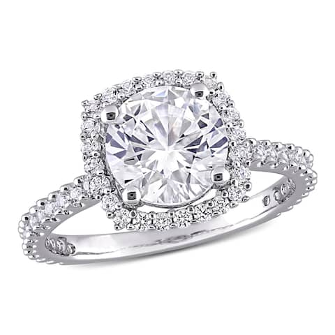 Miadora Sterling Silver 2 7/8ct TGW Created White Sapphire Halo Engagement Ring