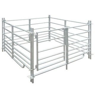 "vidaXL 4-Panel Sheep Pen Galvanized Steel 53.9""x53.9""x36.2"""