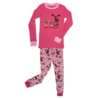 Lazy One Girls' Duck Duck Moose Pajama Set - Pink