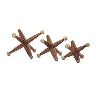"Set of 3 Oversized Nostalgia Wood and Brass Jacks 12"" - brown"
