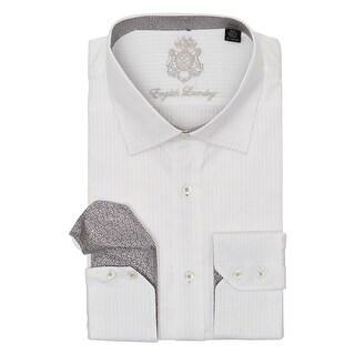 English Laundry White on White Striped Long Sleeve Button Down Dress Shirt