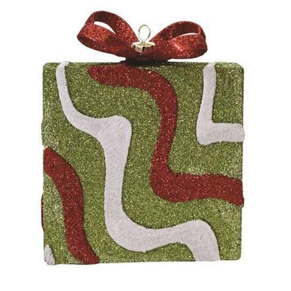 """5"""" Merry & Bright Green, Red and White Glitter Swirl Shatterproof Gift Box Christmas Ornament - green"""
