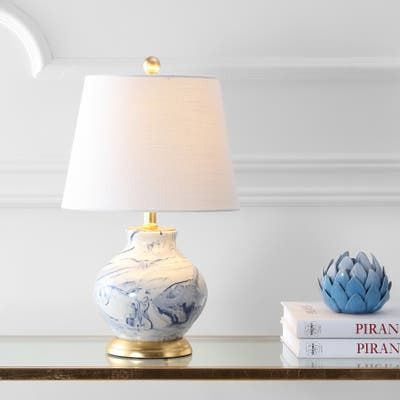 """Holly 20.5"""" Marbleized Ceramic LED Table Lamp, Blue/White by JONATHAN Y"""