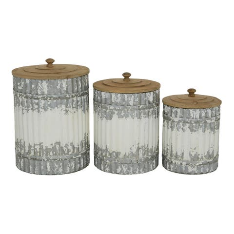 """Round Distressed White Galvanized Metal Textured Canisters With Wood Lid Set Of 3 9"""" 10"""" 12"""" - 8 x 8 x 12"""