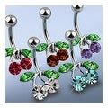 "316L Steel Navel Belly Button Ring with Rodium Plated Brass CZ Set Cherry - 14GA 3/8"" Long (Sold Ind.) - Thumbnail 0"