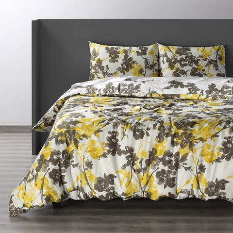 Exclusive Fabrics Ashley Yellow Cotton Double Slub Linen Weave Reversible Duvet Set