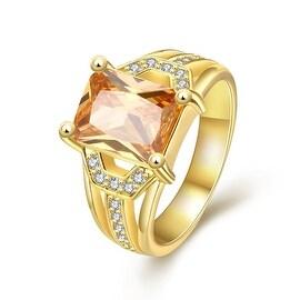 Center Citrine Gem Gold Ring