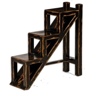 "32"" Saylor Distressed Black Wood 3-Tier Plant Stand Accent Side Table"