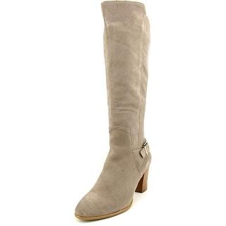 Alfani Careeni Wide Calf Women Round Toe Leather Gray Knee High Boot