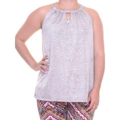 INC International Concepts Women's Shine Halter Tank Top Silver Size Medium Petite - M