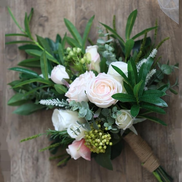 d37828588a Shop Wedding Bouquet Pink White Flowers Bridal Bouquet - Green ...