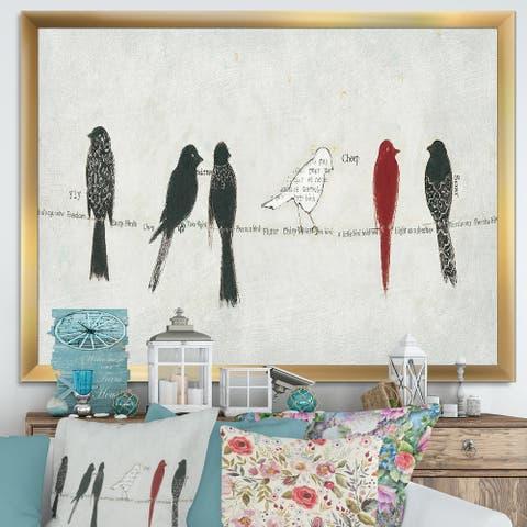 Designart 'Red Catching Up Bird Family' Farmhouse Framed Art Print