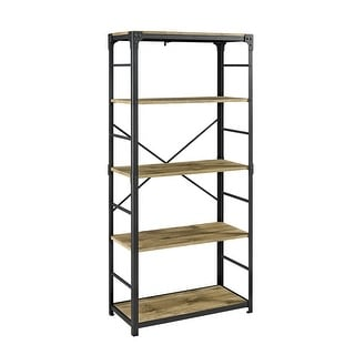 "Delacora WE-BDS64AI  30"" Wide Five Shelf Laminate, Wood and Metal Utility Shelf"
