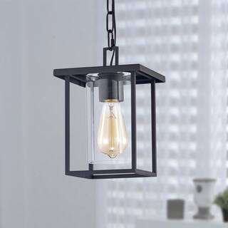 1-Light 7'' Black Painted Clear Glass Pendant Light