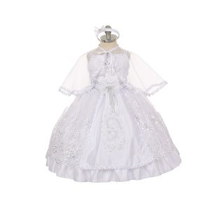 Rain Kids Baby Girls White Virgin Mary Pope Organza Cape Baptism Dress 6-12M