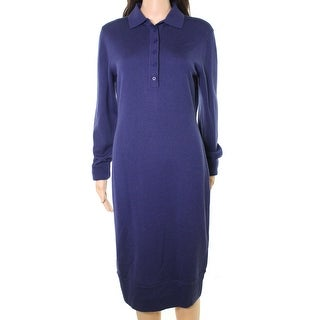 DKNY NEW Navy Blue Women's Size Medium M Wool Knit Sweater Dress
