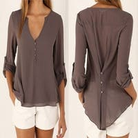 Deep V Neck Button Slim Waist Long Sleeve Chiffon Blouse