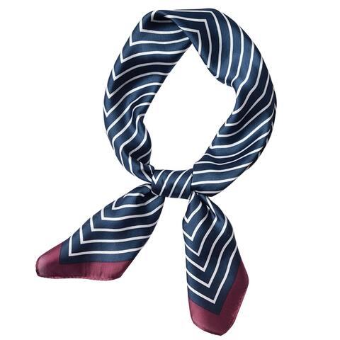 Women Stripe Print Square Scarves Kerchief Neckerchief Headband - 70*70cm/ 27.56*27.56 inches(L*W)