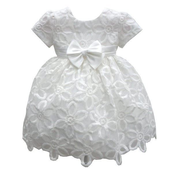 Baby Girls Ivory Floral Embroidered Bow Special Occasion Dress 6-24M