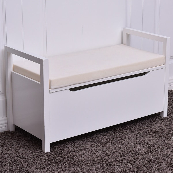 Cushioned Seating Storage Bench: Shop Costway Shoe Bench Storage Rack Cushion Seat Ottoman