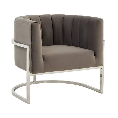 Modrest Landau Modern Grey Velvet & Stainless Steel Accent Chair