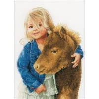 """11""""X13.5"""" 27 Count - Lanarte My Best Friend On Cotton Counted Cross Stitch Kit"""