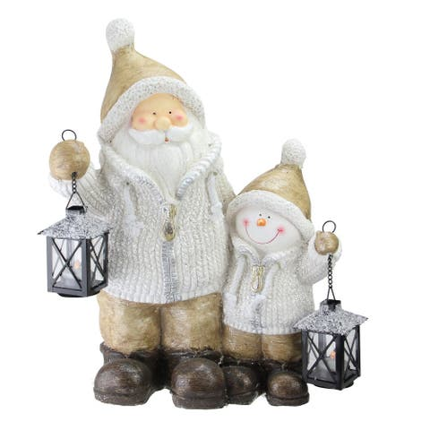 """18"""" Brown Santa and Snowman with Lanterns Christmas Decoration"""