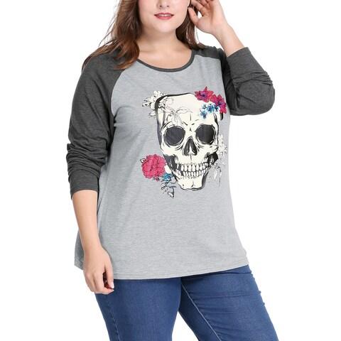 Allegra K Women Plus Size Floral Skull Contrast Color Raglan T-Shirt