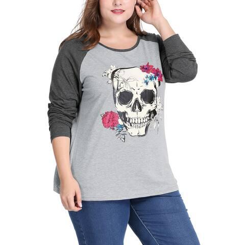 Unique Bargains Women Plus Size Floral Skull Contrast Color Raglan T-Shirt