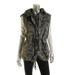 Velvet Womens Cotton Faux Fur Trim Outerwear Vest