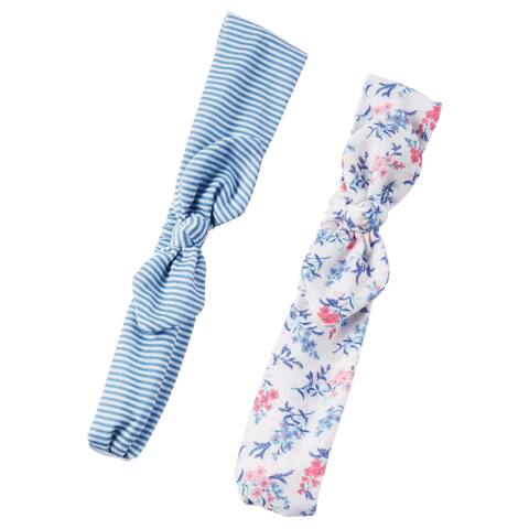 Carter's Girls' 2 Pack Floral Stripe Bow Headwrap, 3+ - 3T