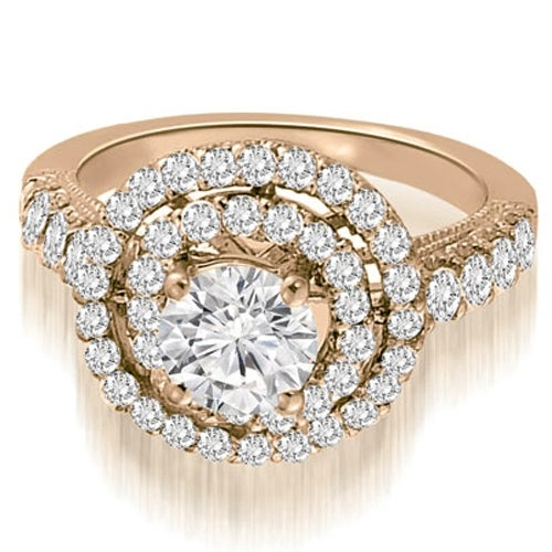 1.65 cttw. 14K Rose Gold Milgrain Double Halo Round Diamond Engagement Ring