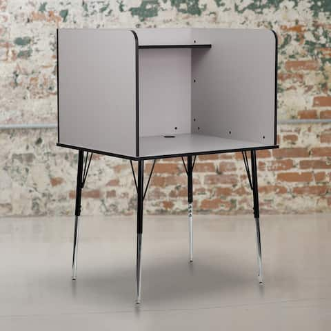 Study Carrel with Adjustable Legs and Top Shelf