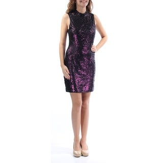 Womens Purple Sleeveless Above The Knee Sheath Party Dress Size: 4